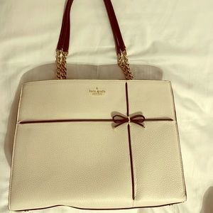 Kate Spade Cherry street Phoebe white leather tote